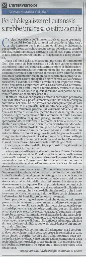 2013-08-14 Il Piccolo pagina 28 Intervento Coloni DAT