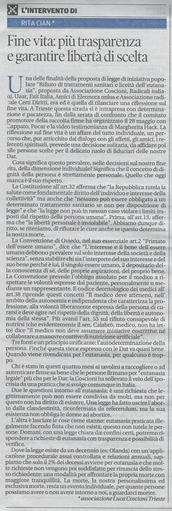 2013-08-17 Il Piccolo pagina 26 Intervento Cian eutanasia