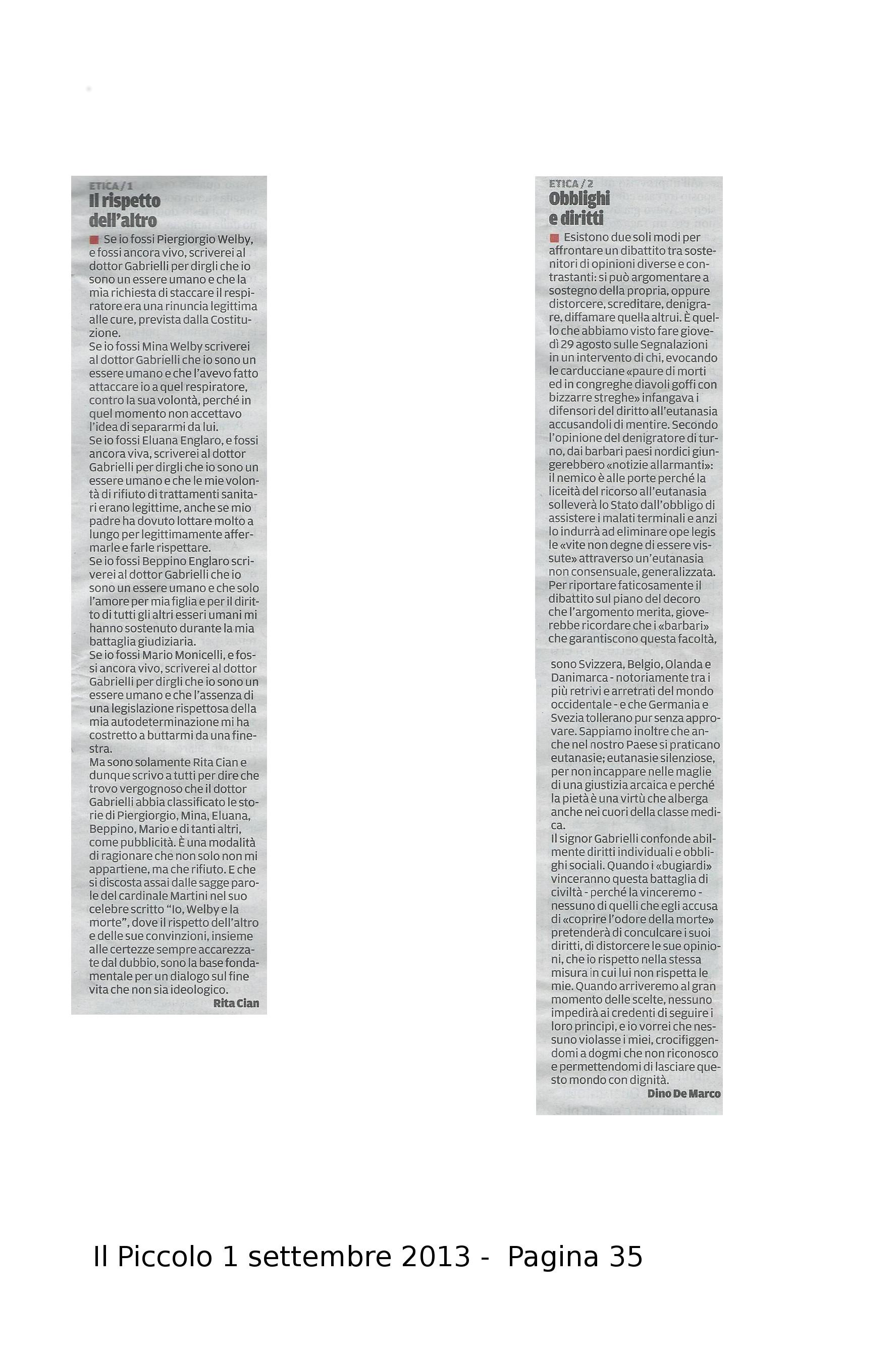 2013-09-01 Il Piccolo pagina 35 - Segnalazioni