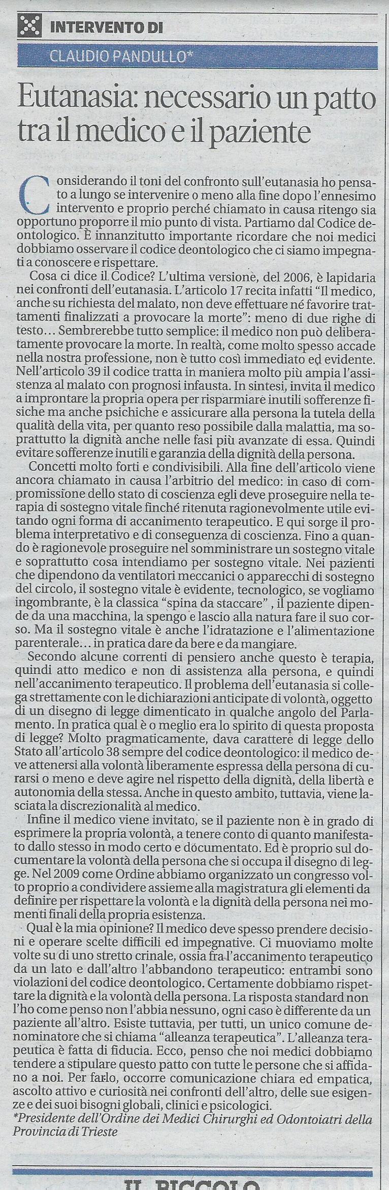 2013-09-22 Il Piccolo pagina 44 Intervento Pandullo
