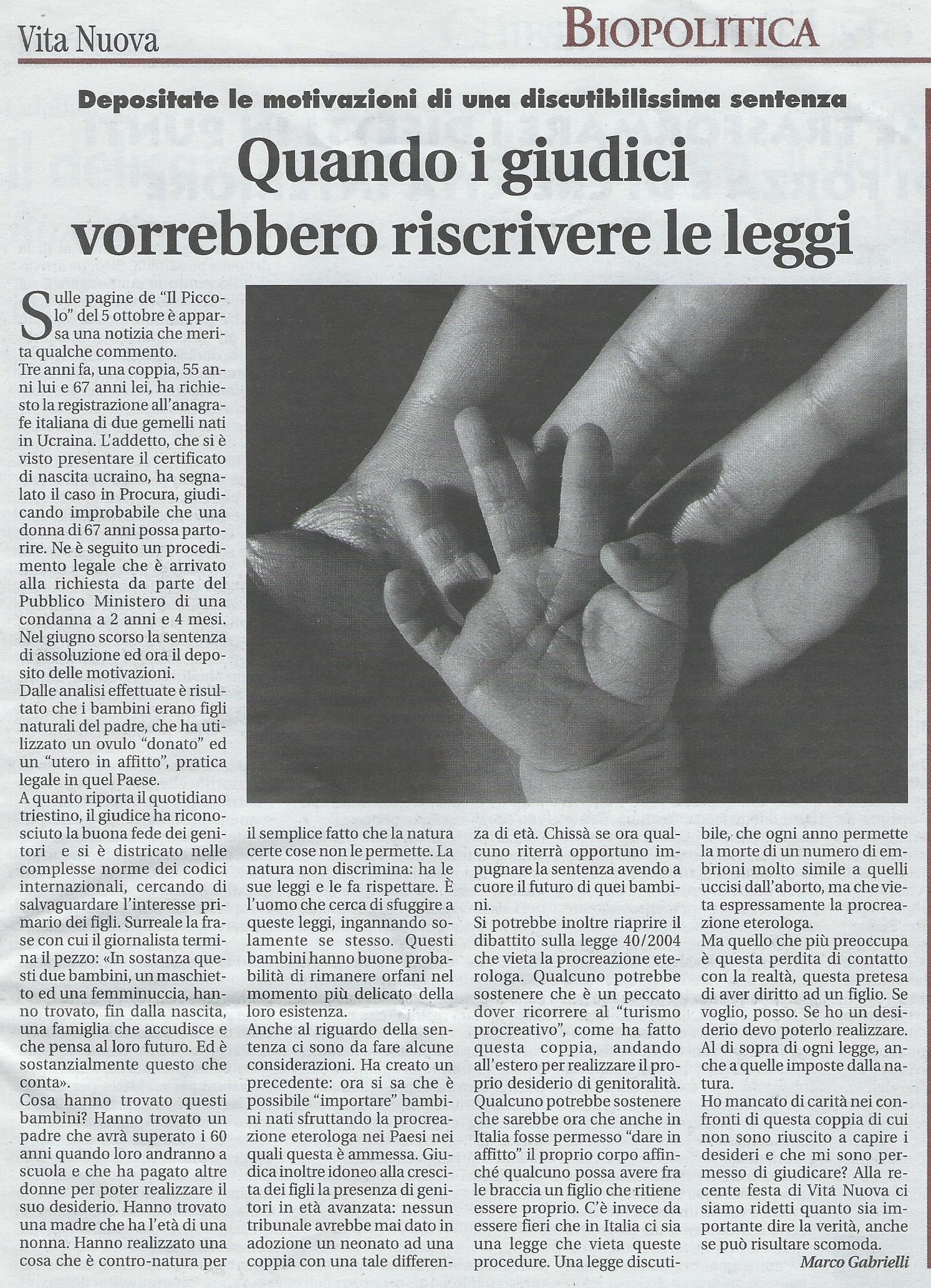2013-10-11 Vita Nuova pagina 15 Su sentenza utero in affitto