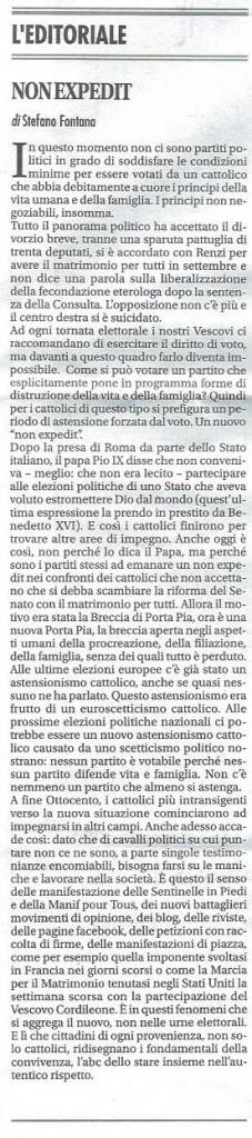 2014-07-04 Vita Nuova pagina 1 Non expedit