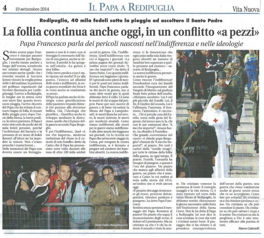 2014-09-19 Vita Nuova su Papa a Redipuglia