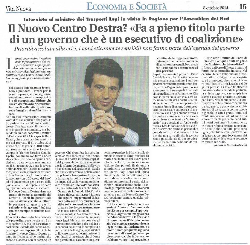 2014-10-03 Vita Nuova pagina 15 intervista Lupi