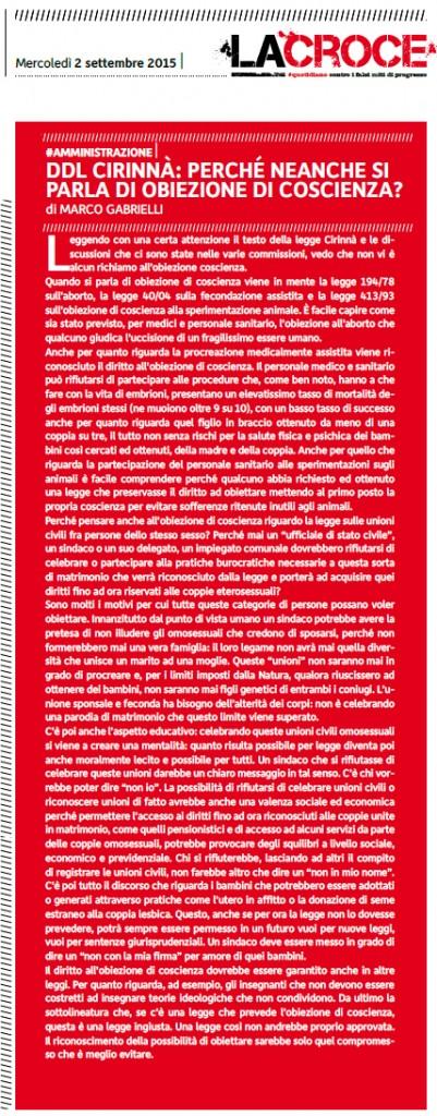 2015-09-02 La Croce pagina 2 Obiezione Cirinnà